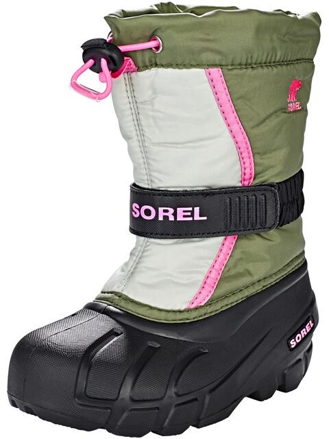 Sorel Kids Flurry Boots Hiker Green/Bubblegum